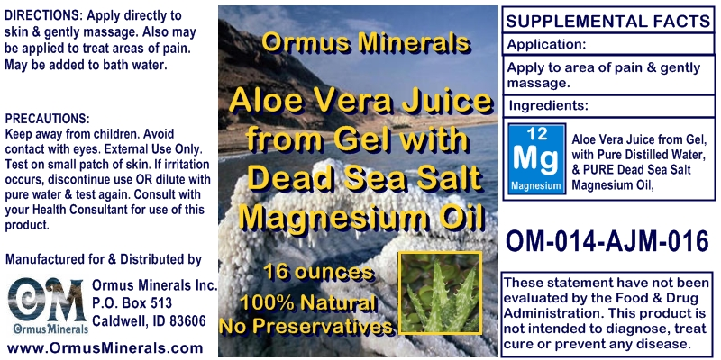 Natural Aloe Vera Juice from Gel with Dead Sea Salt Magnesium Oil for Pain Relief