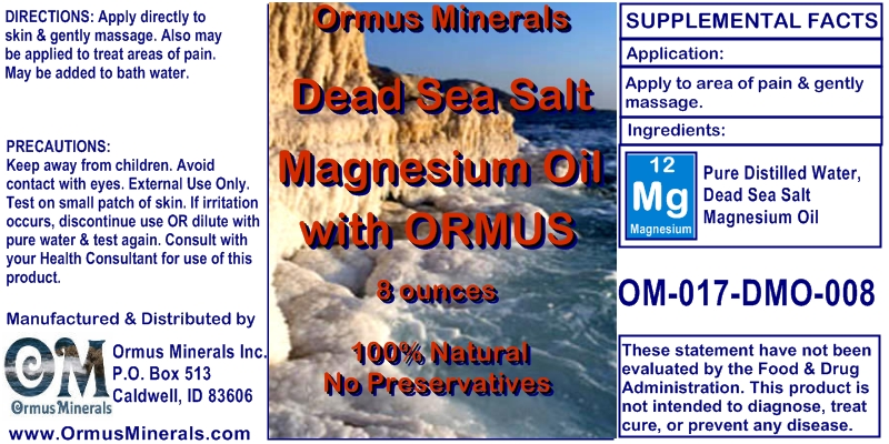 Oormus Minerals Dead Sea Salt Magnesium Oil with Ormus for Pain Relief