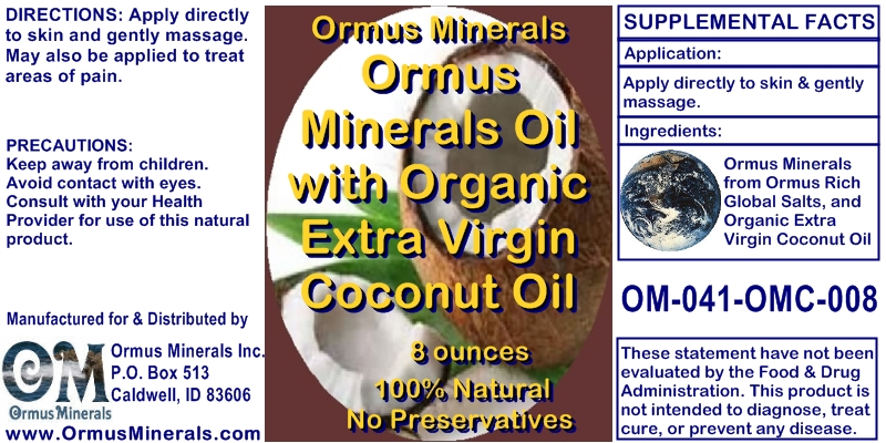Ormus Minerals Magnesium Oil with Organic Extra Virgin Coconut Oil for Pain Relief