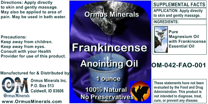 Ormus Minerals Frankincense Anointing Oil for Pain Relief