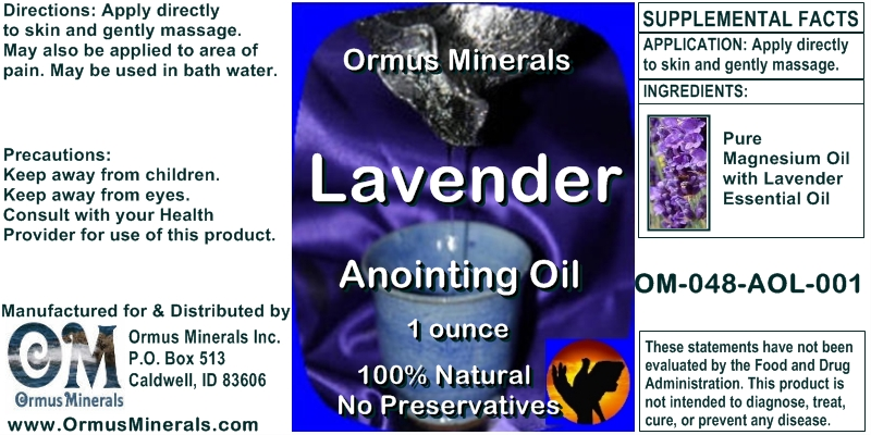 Ormus Minerals Lavender Anointing Oil for Pain Relief