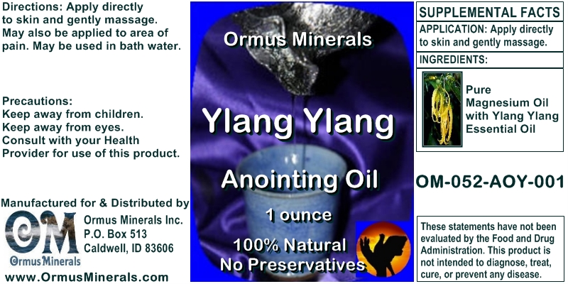 Ormus Minerals Ylang Ylang Anointing Oil for Pain Relief