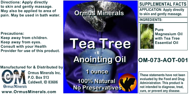 Ormus Minerals Tea Tree Anointing Oil for Pain Relief