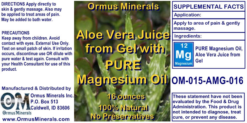 Ormus Minerals Aloe Vera Juice with Pure Magnesium Oil Product for Pain Relief