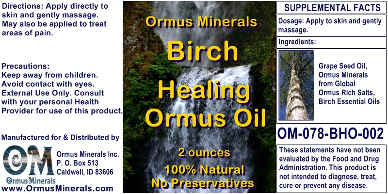 Ormus Minerals Birch Healing Ormus Oil for Pain Relief