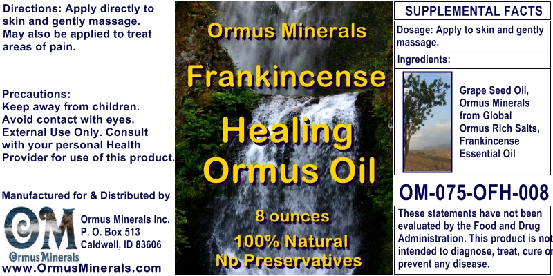 Ormus Minerals Frankincense Healing Ormus Oil for Pain Relief