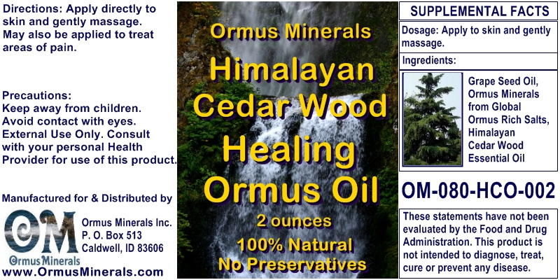 Ormus Minerals Himalayan Cedar Wood Healing Ormus Oil for Pain Relief