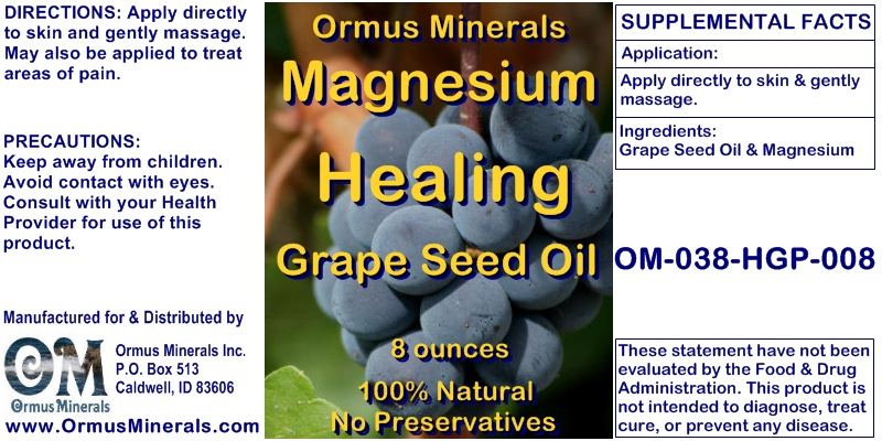 Ormus Minerals Magnesium Healing Grape Seed Oil for Pain Relief
