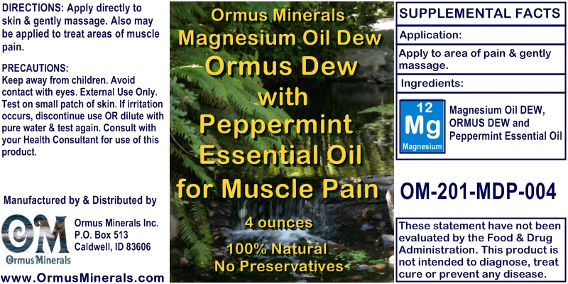 Ormus Minerals Magnesium Oil Dew with Peppermint Essential Oil for Pain Relief