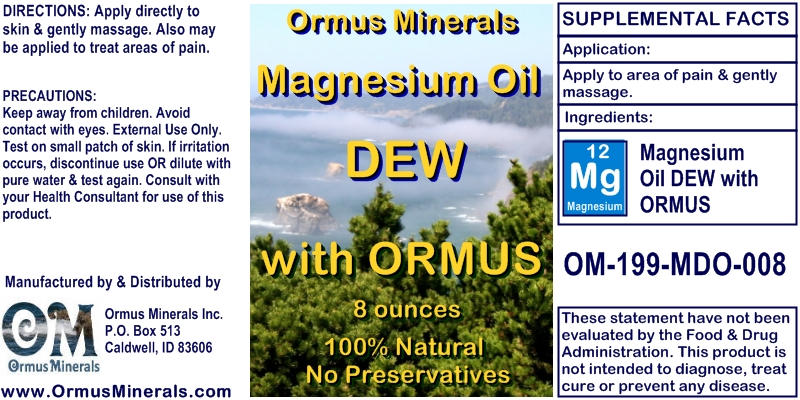 Ormus Minerals Magnesium Oil Dew with Ormus for Pain Relief
