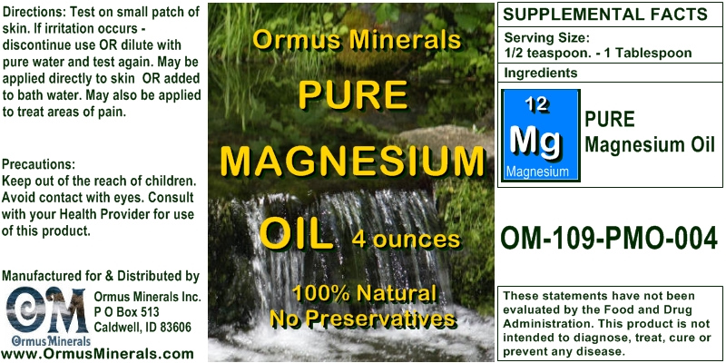 Ormus Minerals Pure Magnesium Oil for Pain Relief