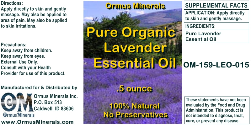 Ormus Minerals Pure Organic Lavender Essential Oil for Pain Relief