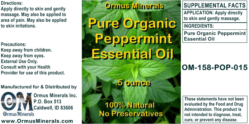 Ormus Minerals Pure Organic Peppermint Essential Oil