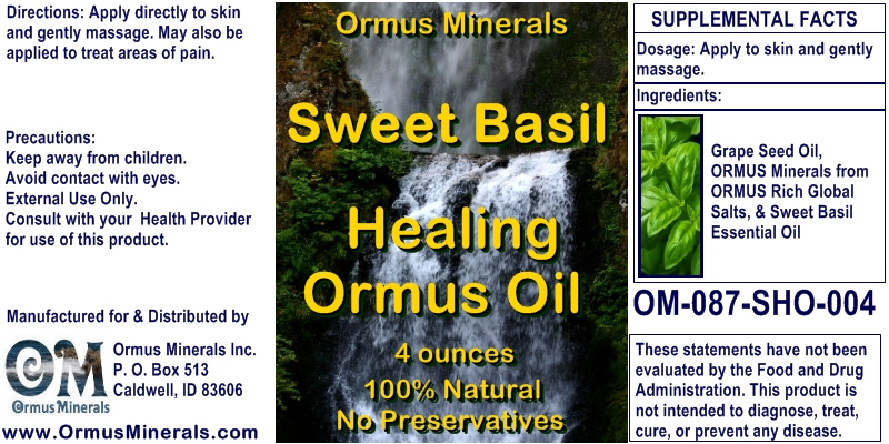 Ormus Minerals Sweet Basil Healing Ormus Oil for Pain Relief